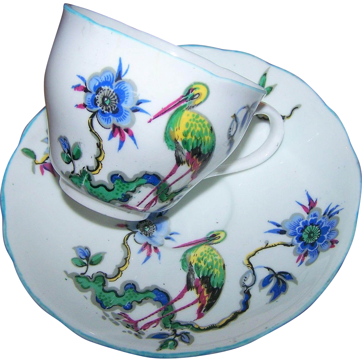 Unique Vintage Stork Bird Tea Cup Saucer Set Guaranteed English Bone China