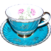 Pretty  Royal Adderley England Tea Cup Saucer Set Floral Rose Accent