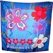 Fun Vintage Pop Art Mod Floral Pattern  Fashion Scarf Acetate Made in Japan