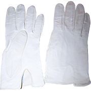 Designer  Guibert Freres Off White Ladies Kid Leather Gloves Size 7 Model Edeltan
