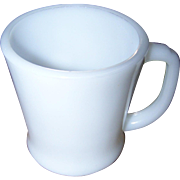Fire-King Oven  Ware White Milk Glass D Handle Mug