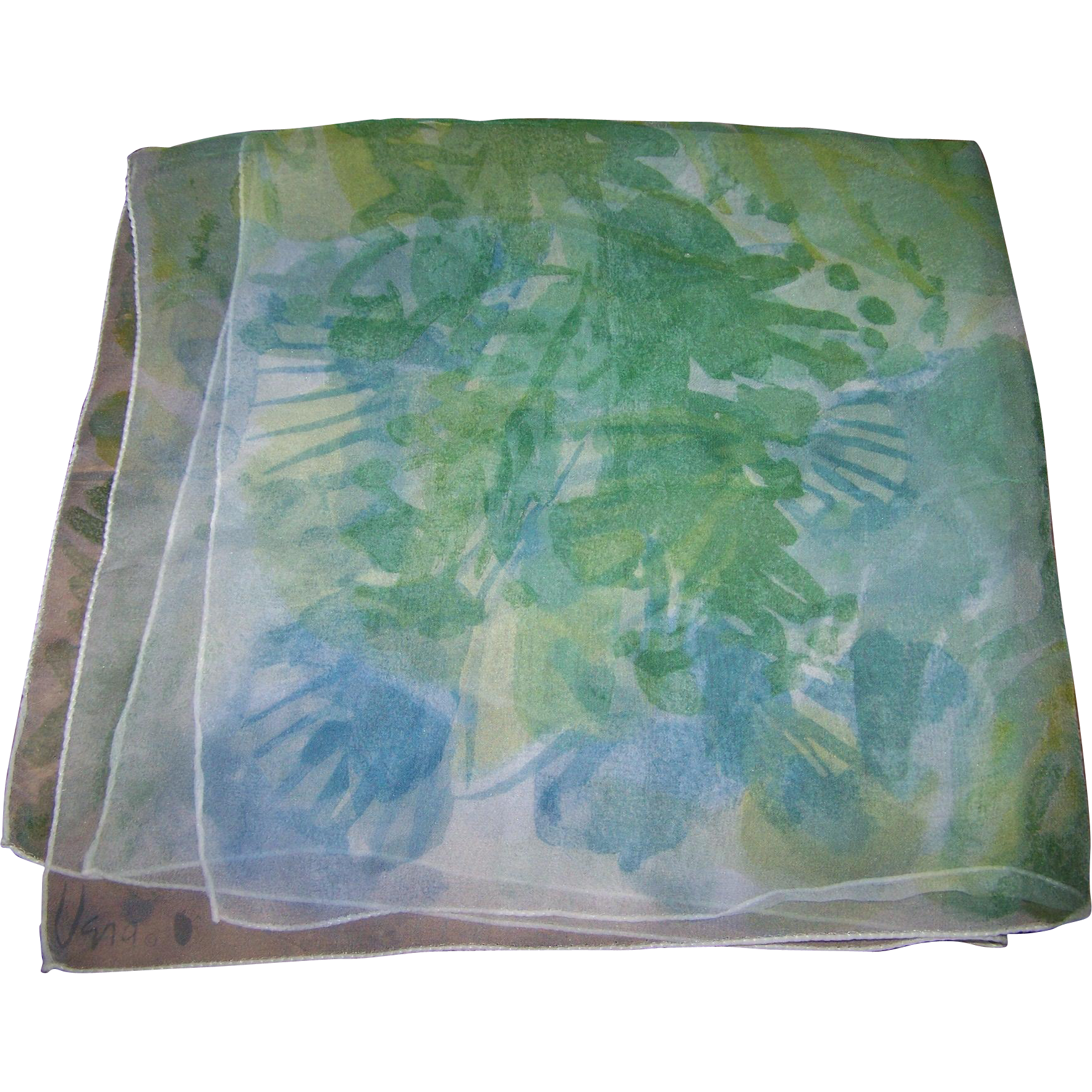 Sheer Silk Chiffon Vera Lady Bug Signature Watercolor Style Floral Scarf