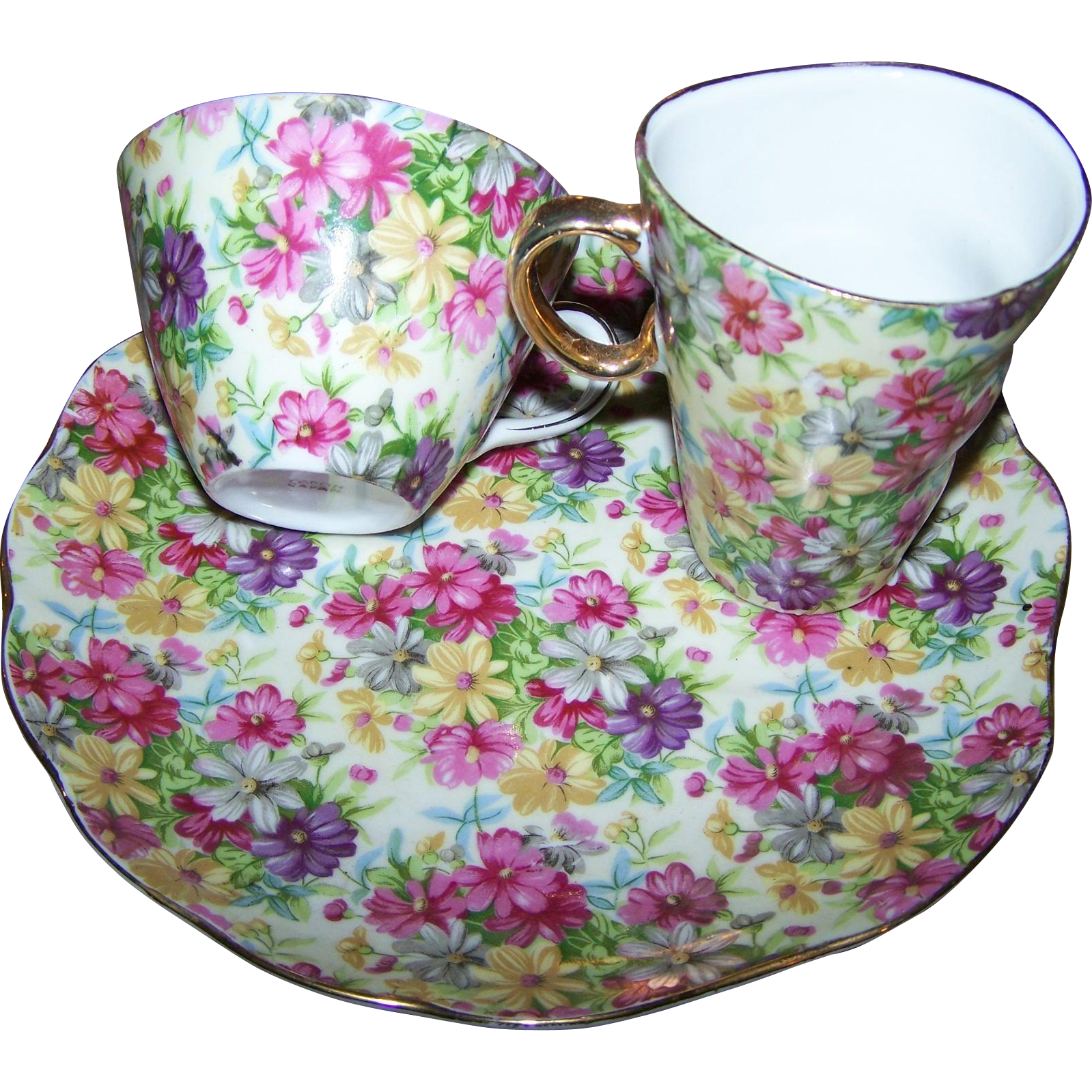 Charming vintage chintz hostess luncheon set tray creamer for L furniture warehouse victoria bc