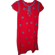 Beautiful Red Ethnic Tunic Style Beaded Dress  or Long Top Slitted Sides Size 14