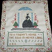 Circa 1930's Folk Art Hand Stitched  Cross Stitch Friendship Motto Sampler