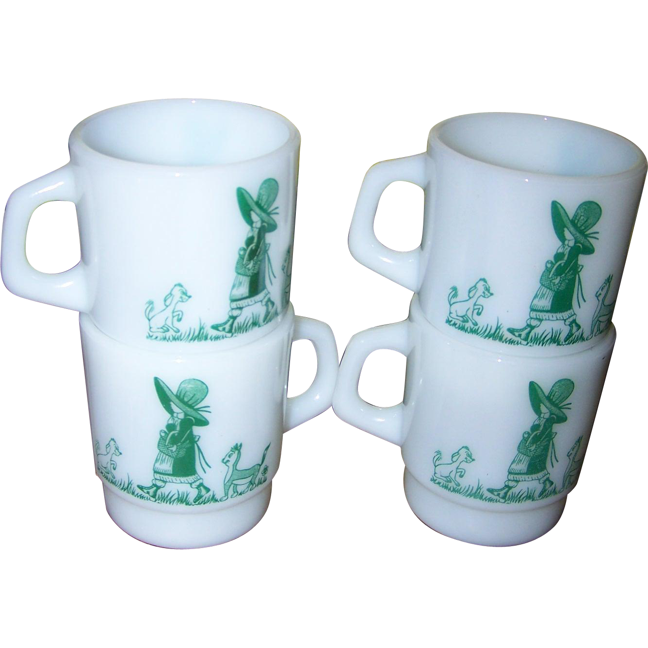 A Lot of 4 Vintage  TERMOCRISA Milk Glass Stacking Mugs - Green Girl  Cat Puppy