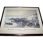 "Framed Vintage W.H.Bartlett Print 1809-1854  "" The St. Lawrence at Montreal  Le Saint Laurent's a Montreal """