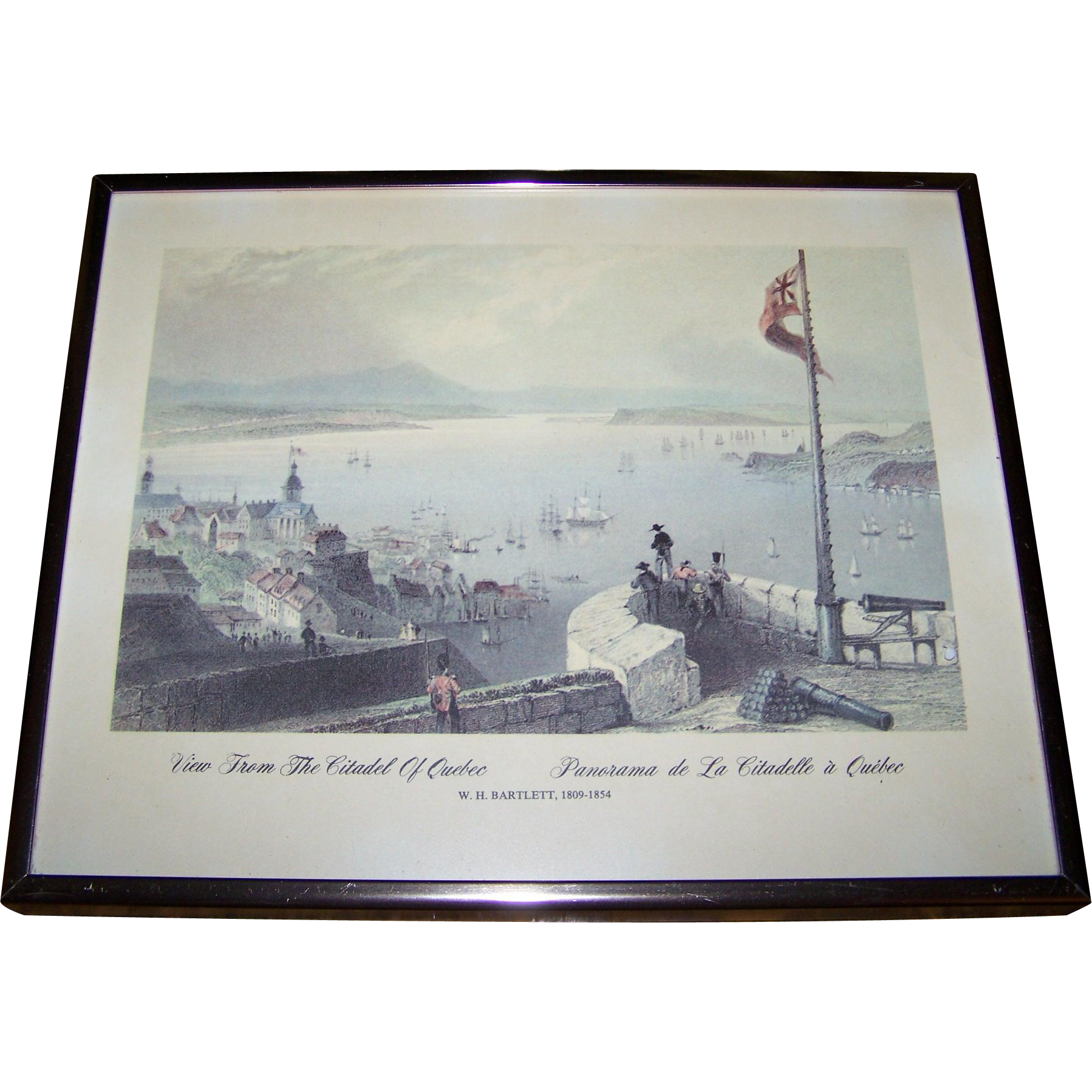 "Framed Print bt W.H. Bartlett 1809-1854  "" View From The Citadel of Quebec  Panorama de La Citadelle a Quebec """
