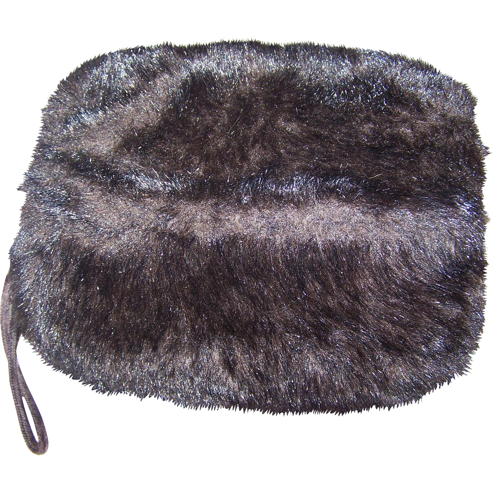 Charming Ladies Vintage Brown Faux Fur Hand Warmer  Puff MUFF