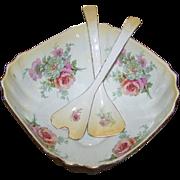 Lovely Vintage Old Foley James Kent Staffordshire Made In England Floral Salad Bowl and Utensil Set