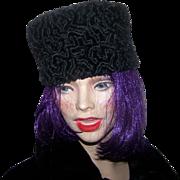 Lovely Deco Era Ladies Black  Persian Lamb Pill Box Style Hat