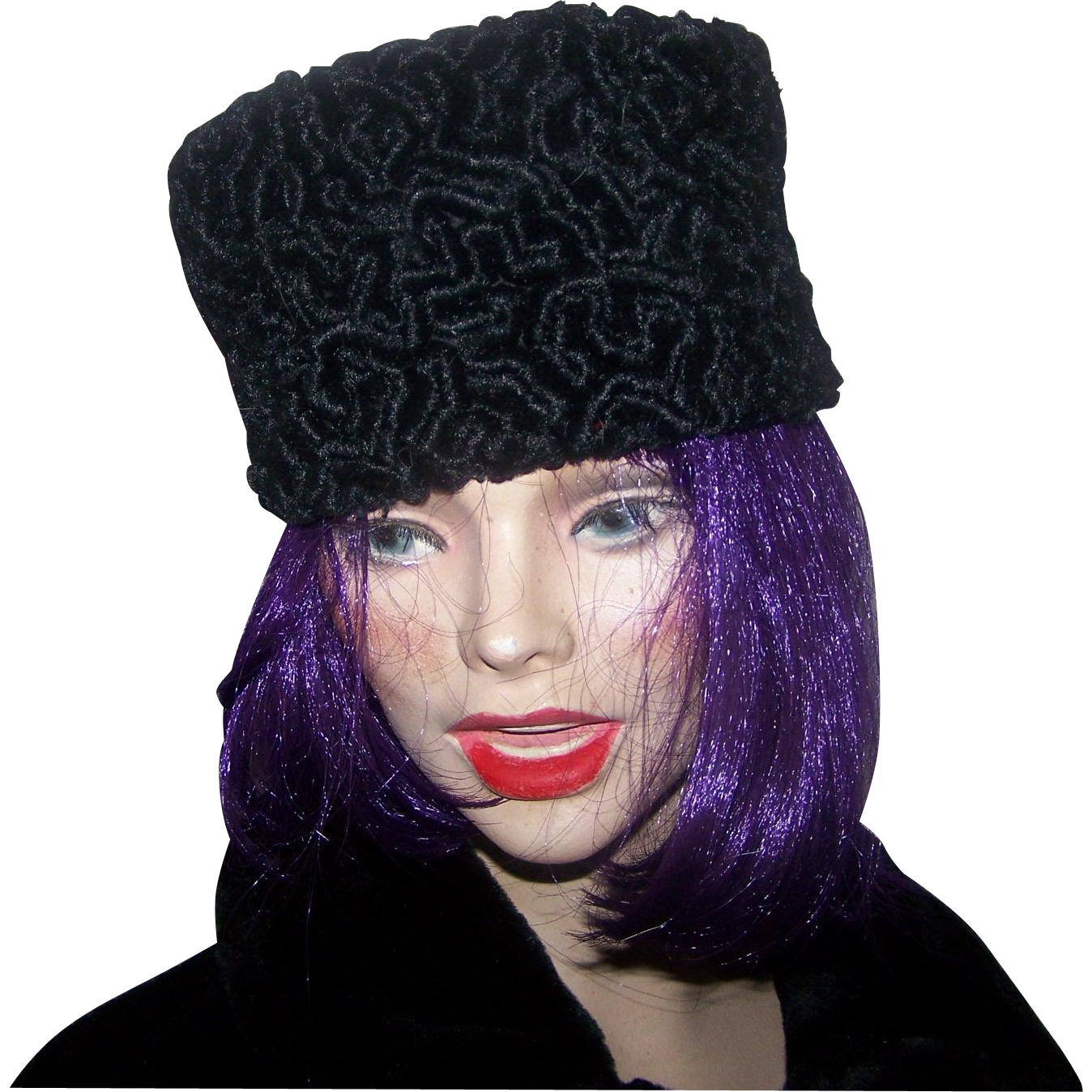 Lovely Deco Era Ladies Black  Persian Lamb Pill Box Style Hat