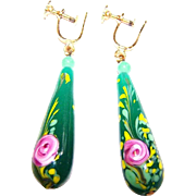 Hand Decorated Painted Pink Floral Venetian Glass Dangle Screw Style Earrings
