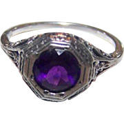 Delicate Gently Worn Gypsy Set Purple Amethyst 925 Sterling Silver Filigree Ring