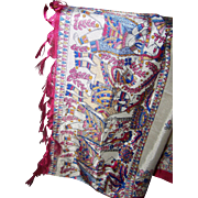 Stunning Long Vintage Cultural Ethnic Scenes  Ladies Fashion Shawl or Sari with Fringes