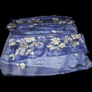 Lovely Large Rectangular Purple and White Floral Pattern Ladies Silk Fashion Scarf