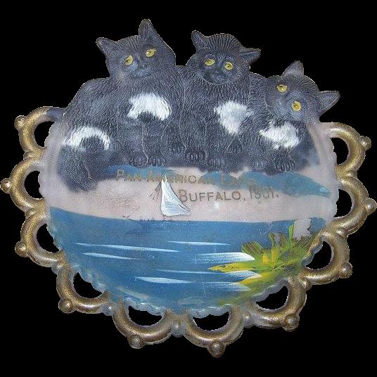 Souvenir 1901 Pan American Expo Buffalo 3 Cats Kittens Plate Westmoreland