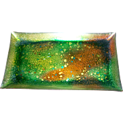 Mid-Century Modern  Abstract Enamel on  Copper Tray by Bernice 65