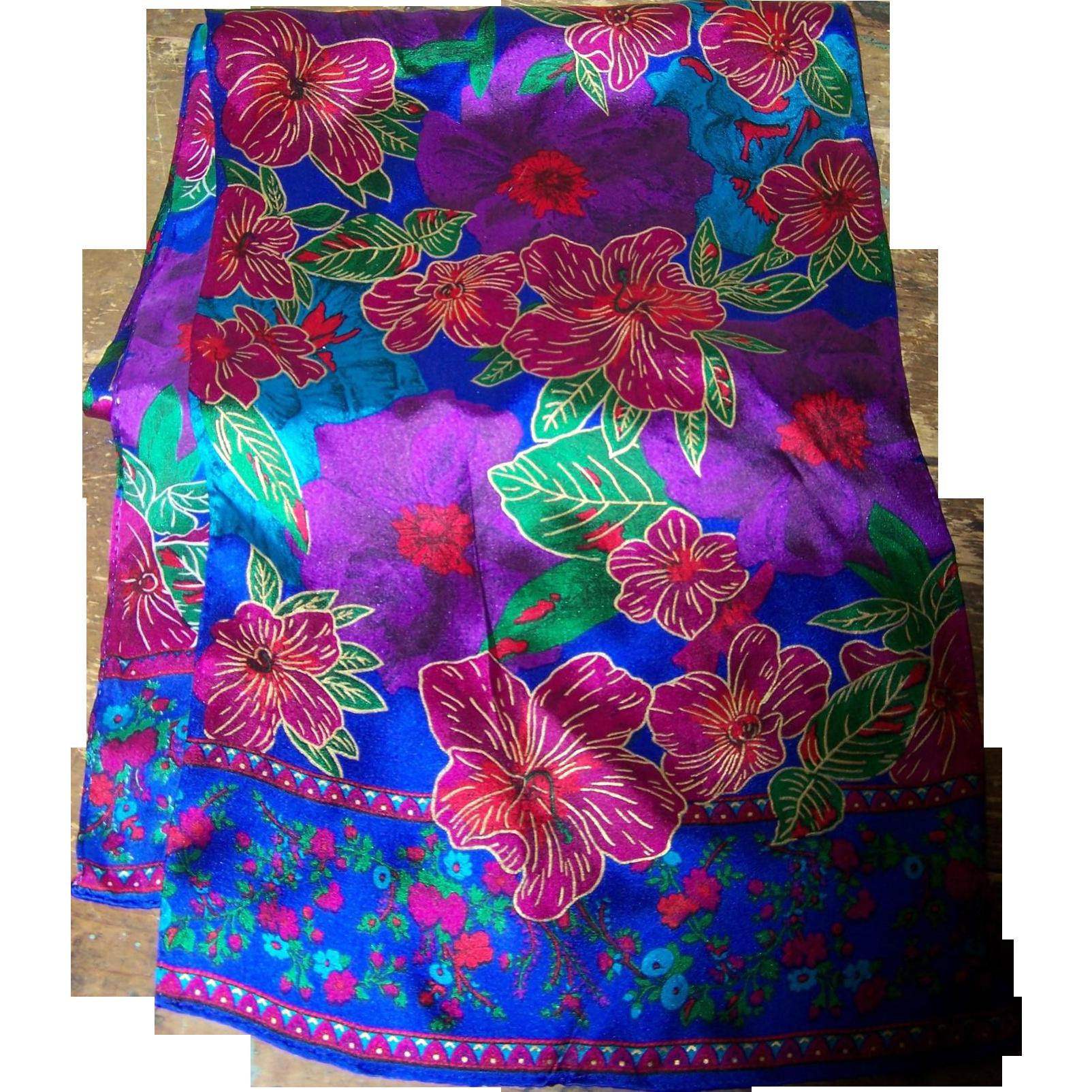 Rich Tropical Flower Pattern Designer Scarf 100 % Silk Liz Claiborne Accessories