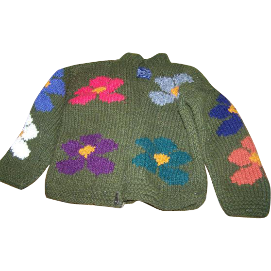 Vintage Otavalo Native American 100 percent Wool Sweater Children's