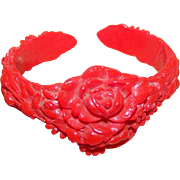 Sweet Heavily Molded Floral Pattern Infant's  or Doll's  Cuff Style Red Celluloid Bracelet