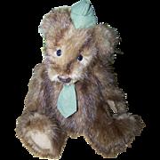 Charming Vintage Real Fur Mink Muskrat Jointed Mr.  Teddy Bear