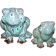 Crazy Cute Glazed Ceramic Frog Figurines Vintage Set