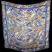 Designer Singed Vera Neumann Poly Silk Ladies Shell Themed Scarf