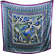 An Incredible Large Silk  Scarf Decorative Geometric Bird Pattern