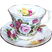 Pretty Red Pink Yellow Rose Floral Tea Cup Saucer Set Royal Albert England