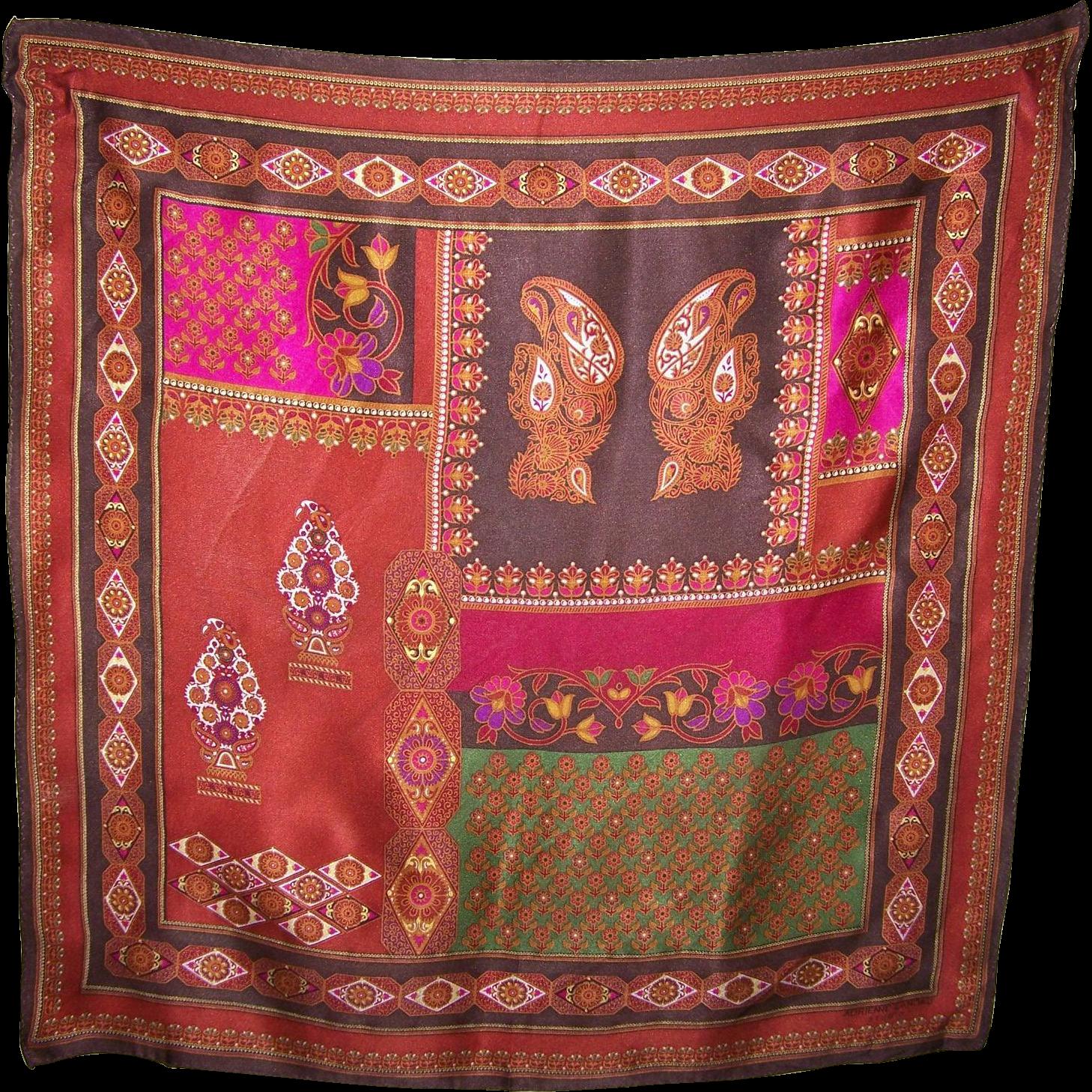 Small Vintage Silk Designer Signed Adrienne Landau Studio Scarf
