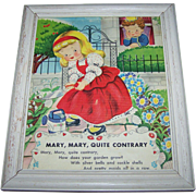 Bright and Cheerful Rescued Framed Children's Linen Style Print Mary Mary Quite Contrary