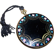 Unique  Vintage Hand Painted Enamel Small Compact Pocket Watch Pendant Style