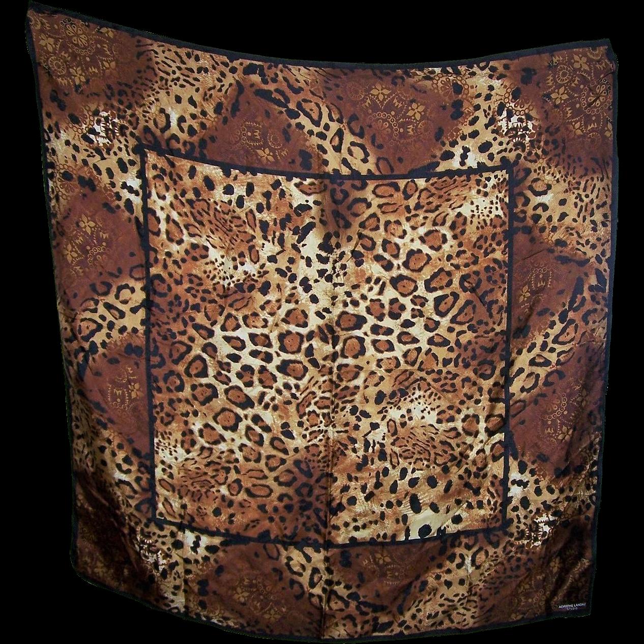 Designer Signed Adrienne Landau Studio Wild Cat Spotted Leopard Print Scarf