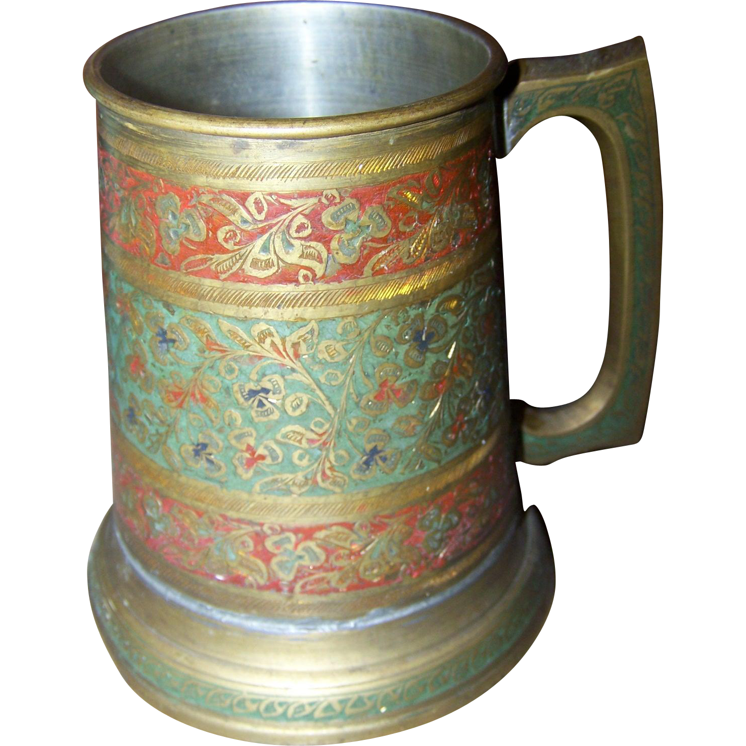 A Vintage Decorative etched Colored  Enamel Brass Metal Ware Tankard with Glass Bottom