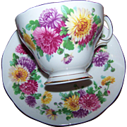 Autumn Glory Floral  Queen Anne Fine Bone China Tea Cup Saucer Set