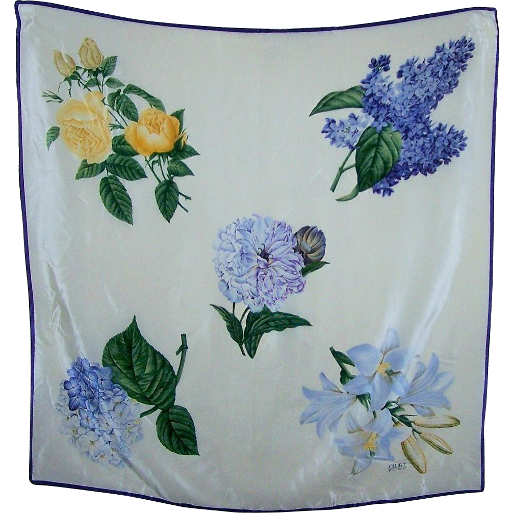 Vintage Club  7 ECHO Silk Fashion Scarf Mixed Flowers Wearable ART
