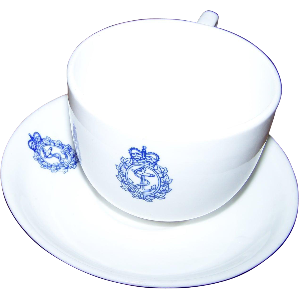 Royal Canadian Navy Cup and Saucer Set Sutherland China 1966  Anchor Crown Maple Leaves