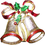 Designer Signed New View Christmas Bells and Holly Brooch Pin