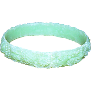 An Oh So Pretty Delicate Deeply Molded Mixed Floral Green Celluloid Bangle Bracelet