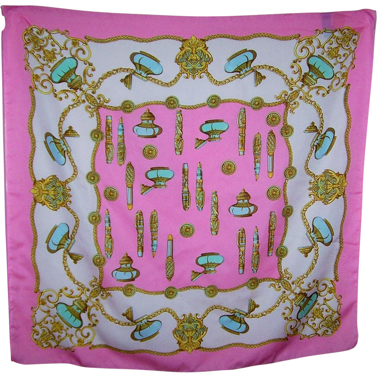What A Beautiful Vintage Art of The Scarf Ink Well & Pen Motif Polyester  Scarf Made in Italy