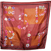 Lovely Small ESPRIT Floral Letter Themed Silk Scarf Made in Italy