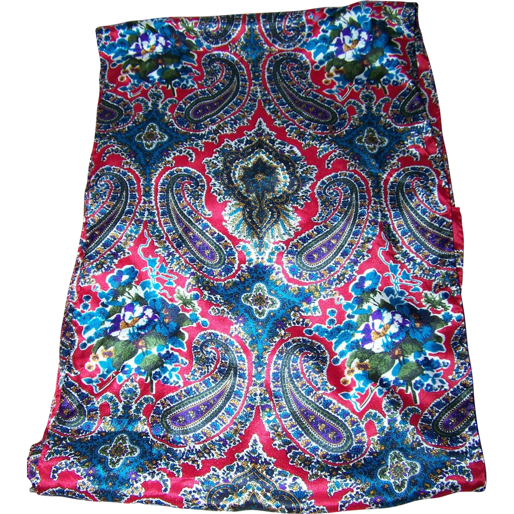 Colorful Designer Signed Long Rectangular CLUB Echo 7 Scarf Paisley Flower Pattern