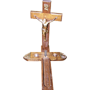 A Vintage Last Call Sick Call Last Rites Wooden  Cross Crucifix