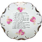 Vintage Home Decor Hanging  Ceramic Ten Commandments Wall  Art  Plate  18 K Gold Trim