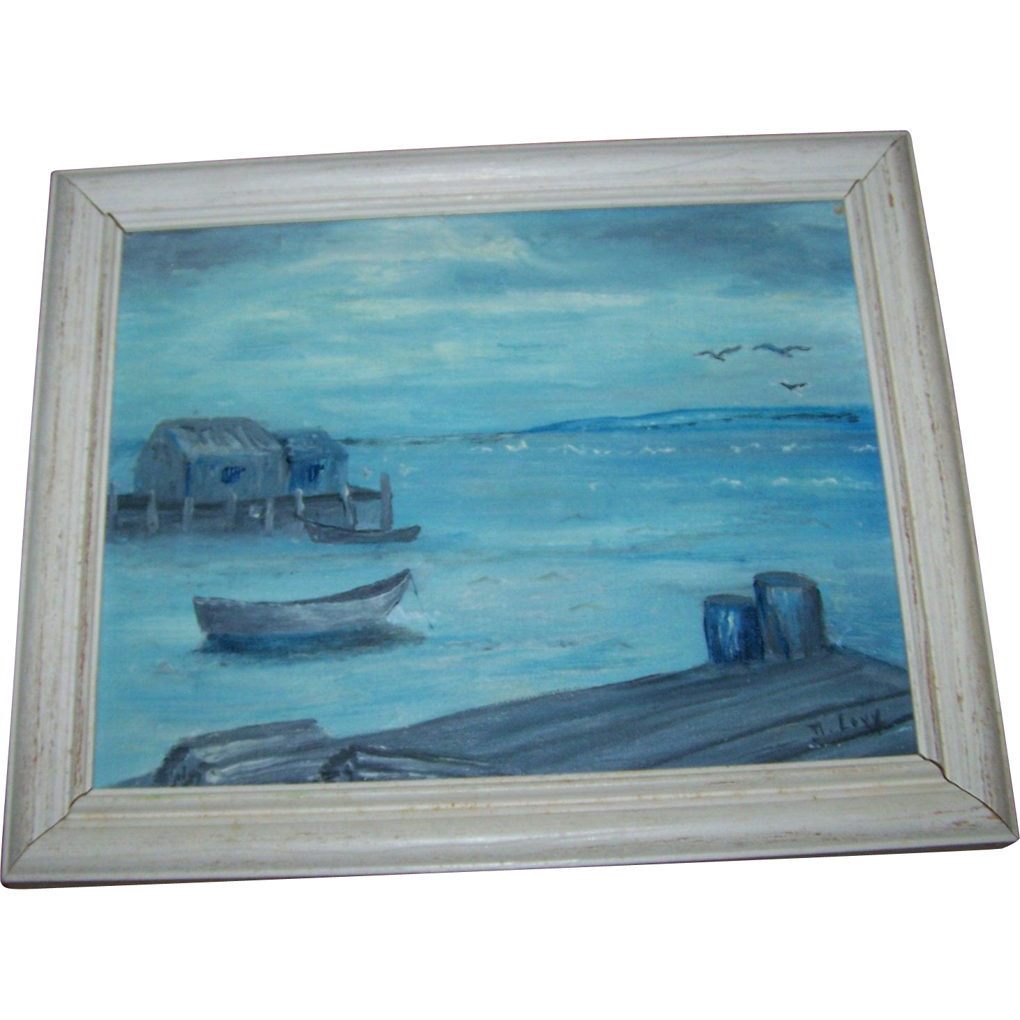 "Framed Oil Painting on Canvas Panel Titled ""Peggy's in Blue "" Artist Signed Peggy's Cove Nova Scotia"