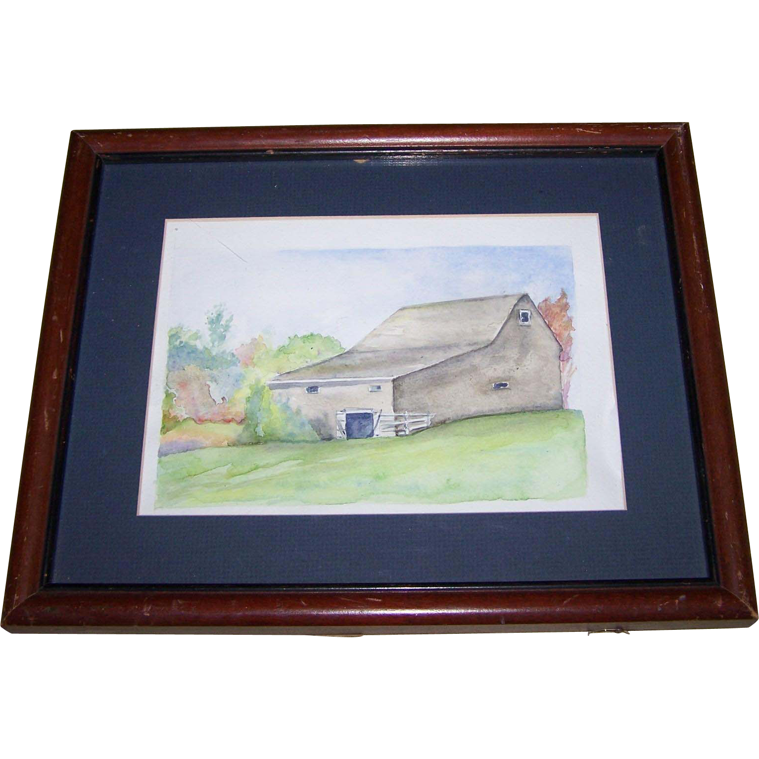 A Lovely Vintage Hand Painted  Watercolor Painting of a Barn View Home Decor Wall ART