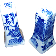Vintage Blue Willow Salt and Pepper Shaker Set Made in Japan