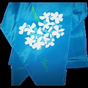 Lovely Vintage Designer Signed Vera Neumann White Floral Print on Blue Wing Tip Scarf