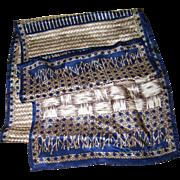Long Rectangular Designer Signed Oscar  de la Rental Fringed Silk Scarf Weaving Theme